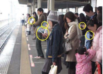photo of people waiting at a train station using mobile devices