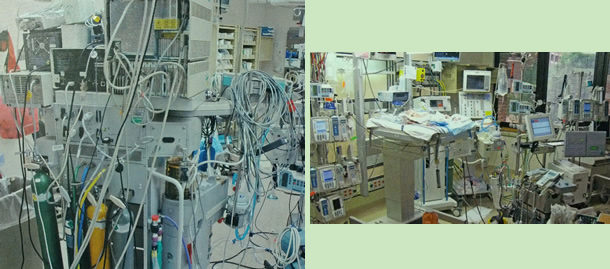 Photos of operating room with very messy equipment