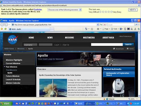 Apollo program homepage with usability study instructions at top of screen.