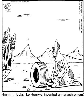 caveman creating a tire with a stone axe