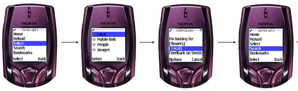 pictures of cellphones at different steps of a task