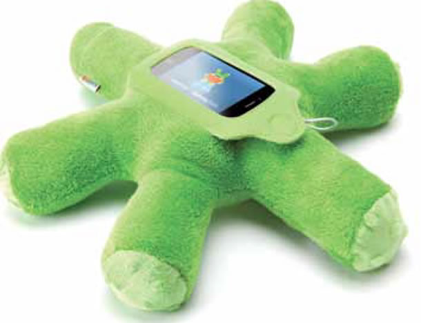 The Woogie is a plush, green, star-shaped holder for an iPhone