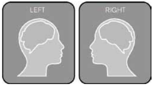 Left and right profiles of a human head labeled Left and Right.