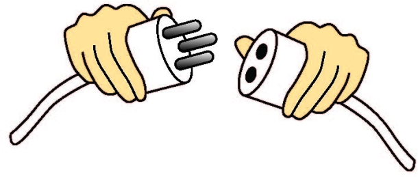 Illustration of two mating parts that are impossible to connect. Three prongs on one plug and two receptacles on the mating part.