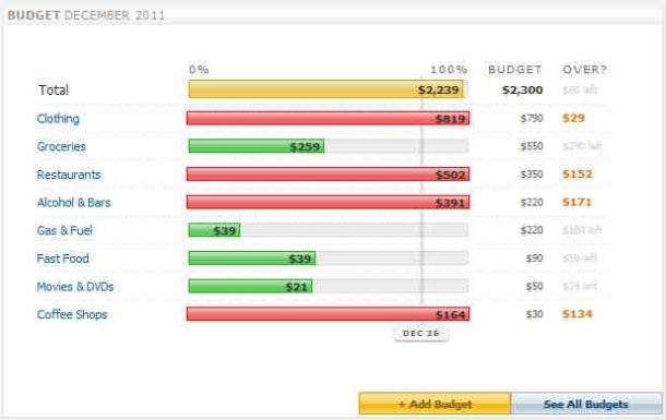 Screen image with colored bars showing spending against budget.