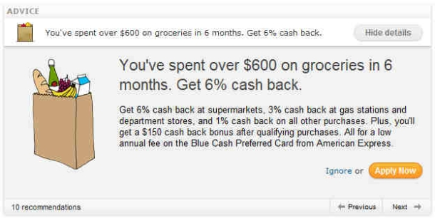 Online ad: You've spent over $600 on groceries in 6 months.. with pitch for cash back using a credit card.