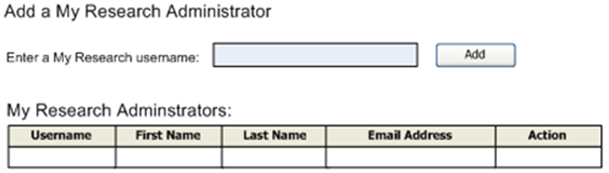 Screen to Add a My Research Administrator, with a field for a username and a table to list administrators.