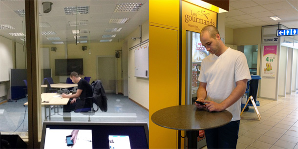 Two photographs of people using a mobile phone: in an office and on a construction site.