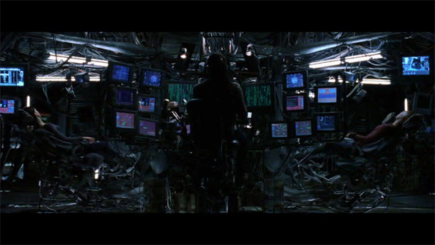 Control room with many screens