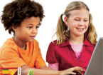 Two children at a computer