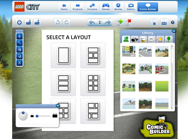 Screen with windows showing a choice of layouts and background images and toolbars