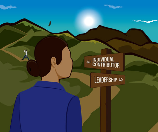 Woman at a crossroads of individual contributor and leadership