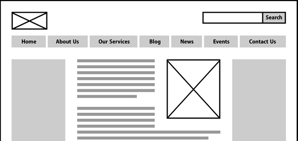 Wireframe showing location of search and navigation.