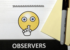 Sign for observers to stay quiet with cartoon face