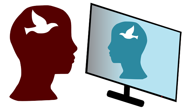 Drawing: two heads look at each other through a computer screen. Both have a silhouette of a dove.
