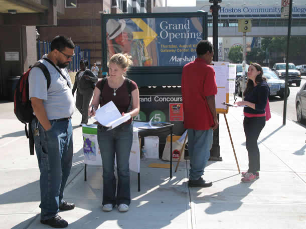 Researchers conducting interviews near the Grand Concourse subway station