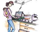 illustration of a woman checking a laptop in a kitchen.