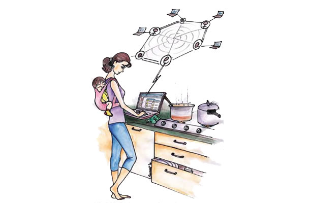 illustration of a woman checking a laptop in a kitchen