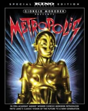 Movie poster with image of a gold robotic android