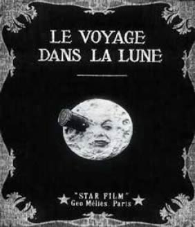 Movie poster showng a rocket crashing into the face of the moon