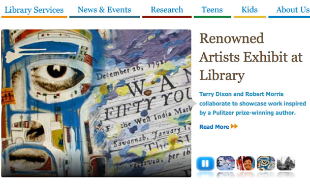 Figure 1.(left) The home page of the Washington D.C. Public Library offers a bite: Renowned artists