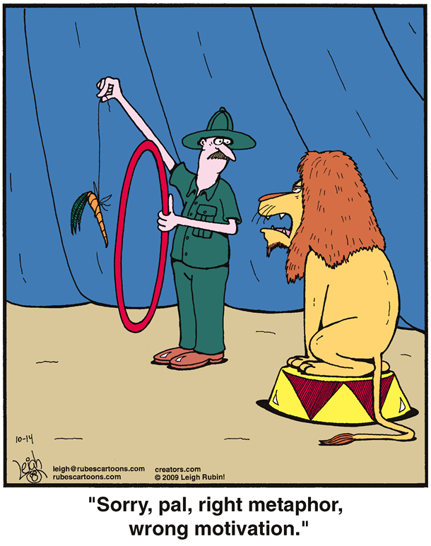 a trainer is trying to get a lion to jump through a hoop with a carrot on a stick