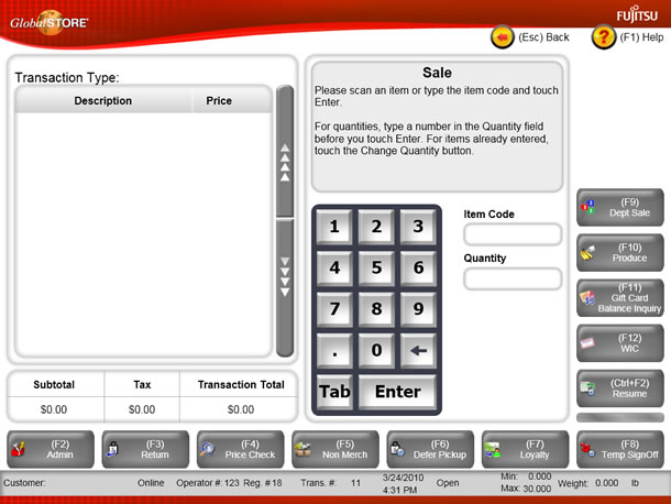 Point of sale system screen images