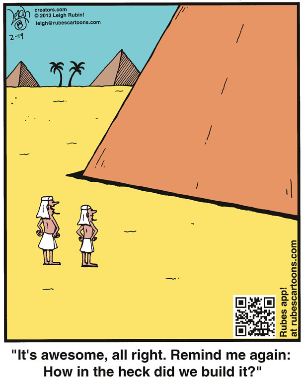Two ancient Egyptians stand at the base of a pyramid