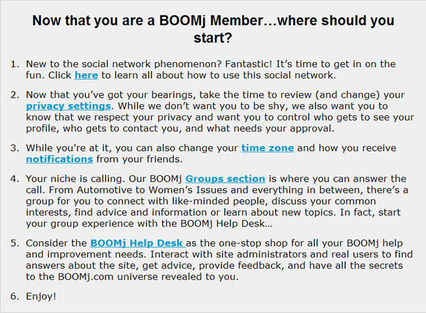text advertisement for BOOMj