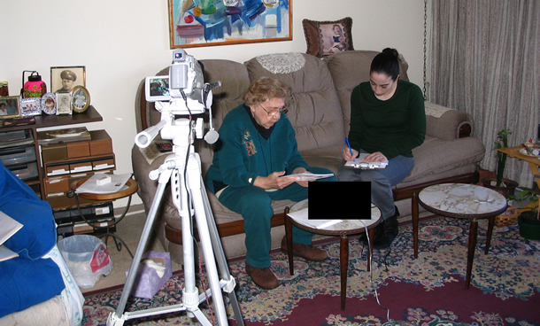 interviewing with video camera