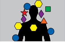 outline of human body with geometric shapes attached