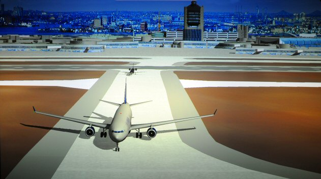 computer rendering of an aircraft on a runway