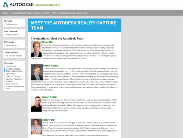Screenshot of website with photos and bios.