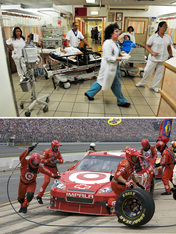 A busy Emergency Room and a Nascar pit crew