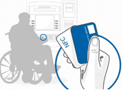 Person in wheelchair with smartcard.