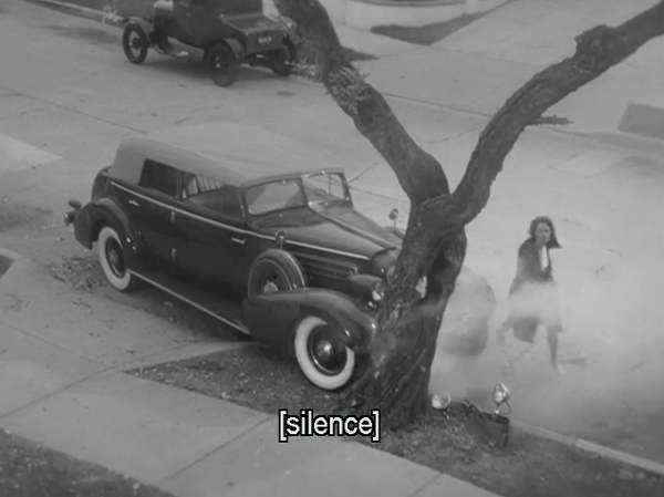 Car crashed into tree, closed captioning reads