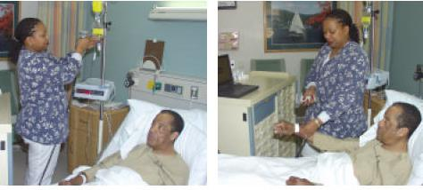 photographs of nurse administering to patient