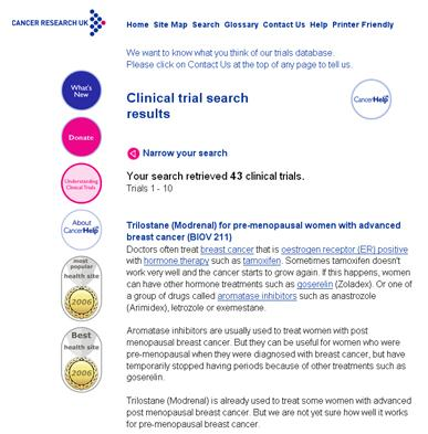 clinical trials page of a website