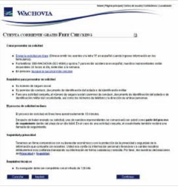 website application page in Spanish