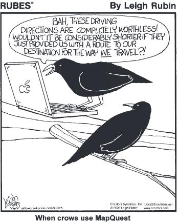 One crow is on a laptop.  He says to the other