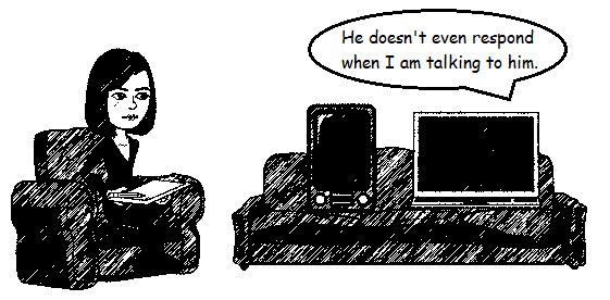 A tablet and desktop computer attend counseling. One says He doesn't even respond when I talk to him