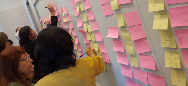 A group arranging yellow and pink sticky notes on a wall.