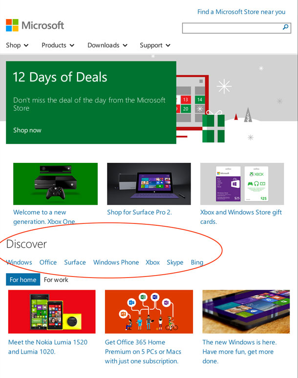 Mobile view of Microsoft homepage