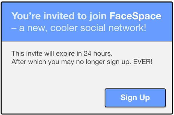Dialog box shows limited time to register