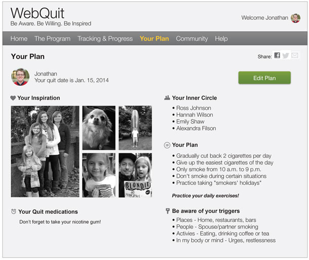 The WebQuit Interface. The plan for quitting includes emotional inspiration and specific targets.