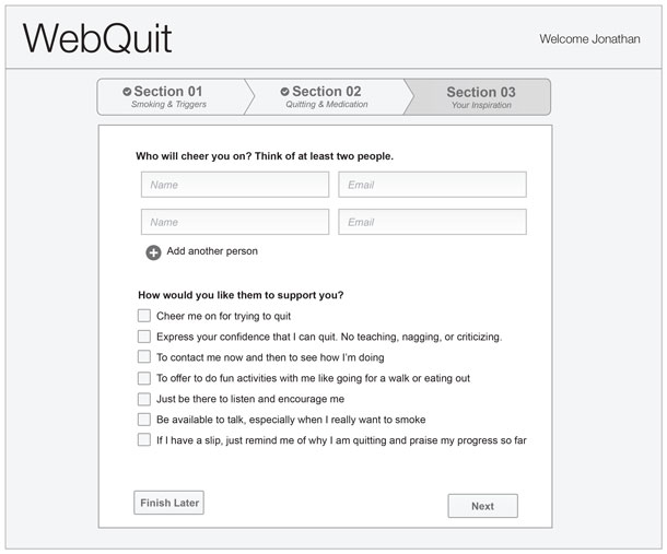 """The site offers a list of ways people can support you, like """"Cheer me on for trying to quit."""""""