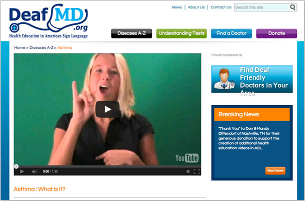 A screen shot of a website providing sign language videos of medical education content