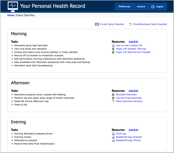 A screen shot of a prototype patient-centered care plan with a schedule of tasks and links to personalized content.