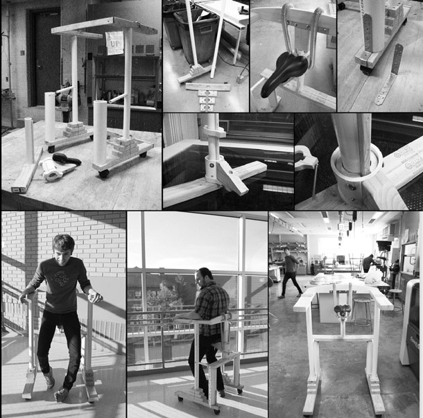 A collage of photos showing details of the mockup and people using it.