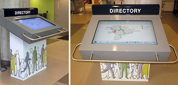 The directory kiosk, showing an overview map (left).   Photo of the directory kiosk showing the height and design of the kiosk enclosure (right).